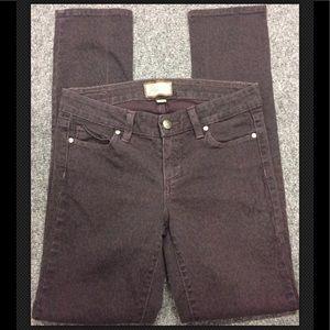PAIGE Skinny Jeans Leopard Peg Low Rise Plum